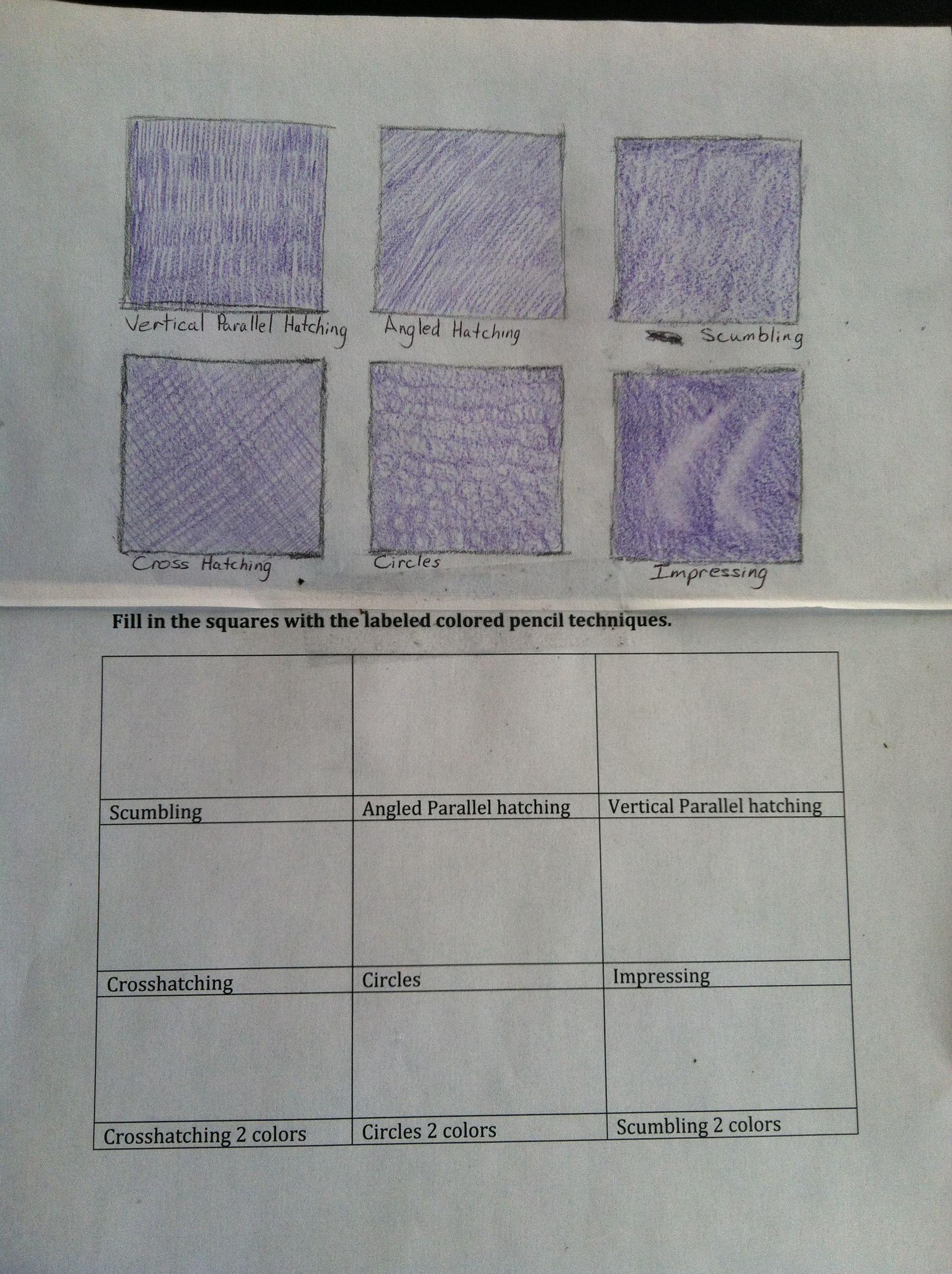 Color Pencil Techniques Worksheet
