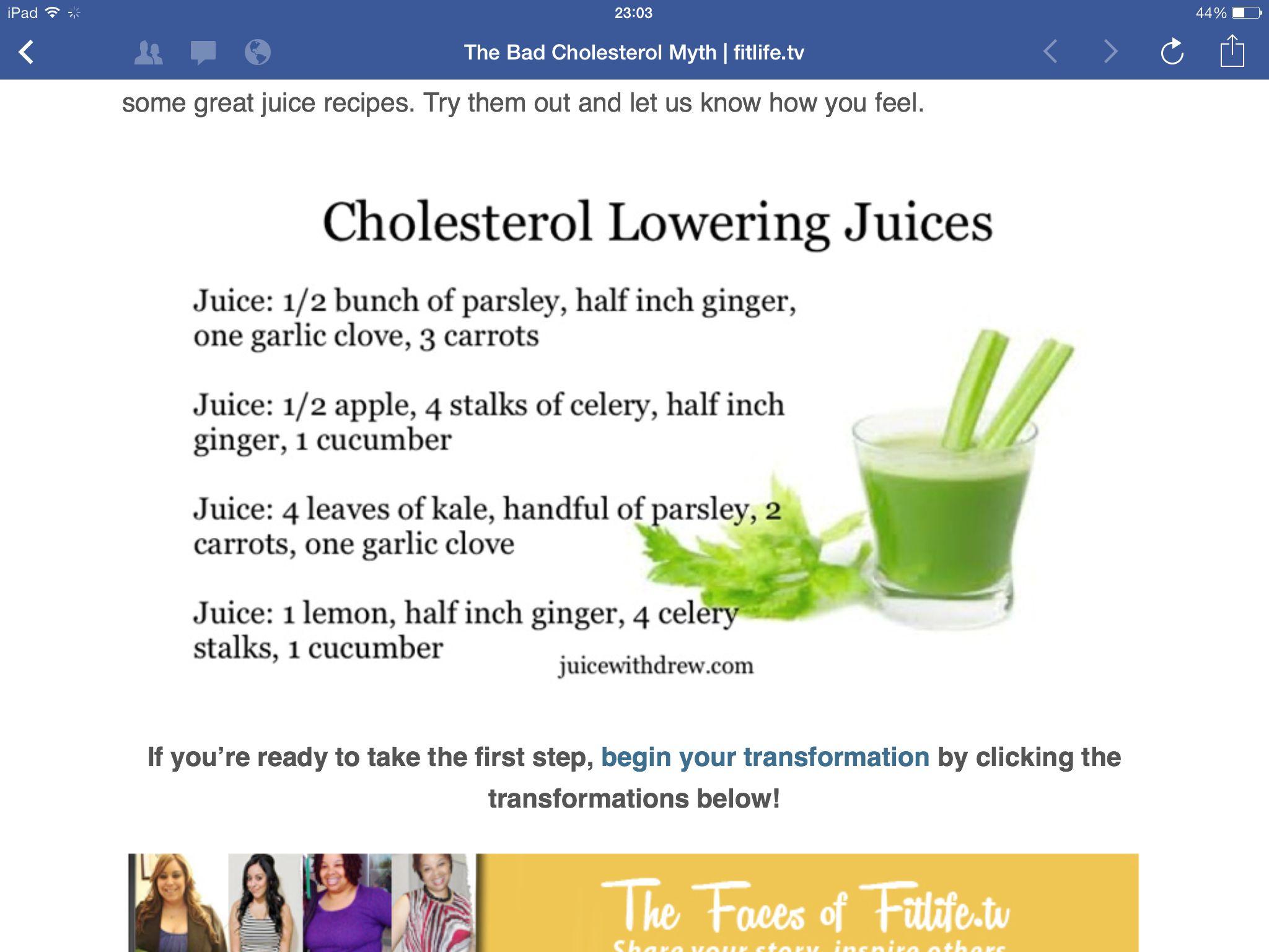 Cholesterol Lowering: Cholesterol Lowering Juice