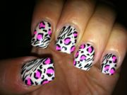 zebra and pink leopard nail design
