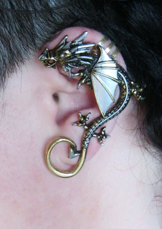 Metal Dragon Brass and Silver Ear Cuff