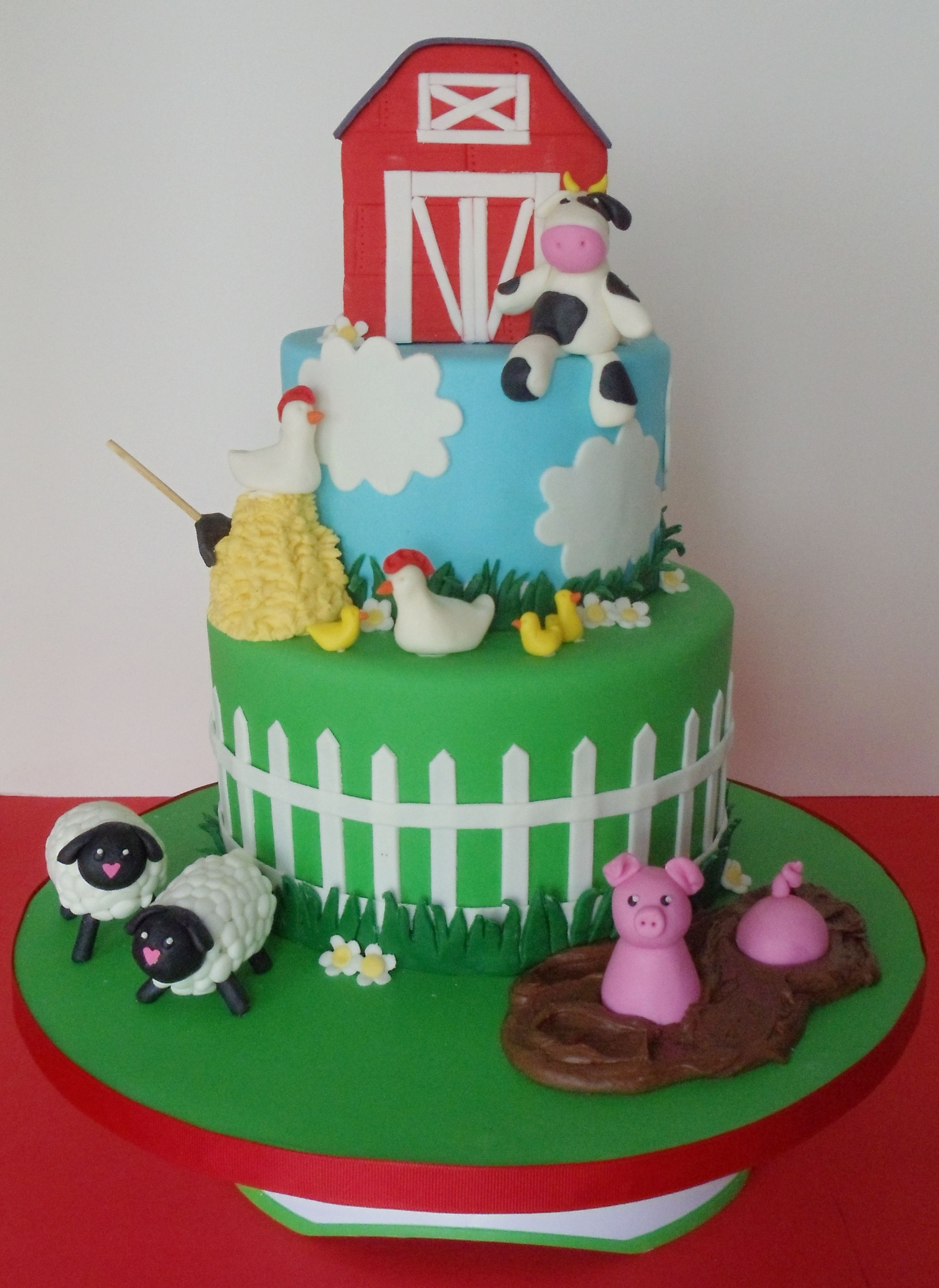 Baby Shower Farm Animals Cake