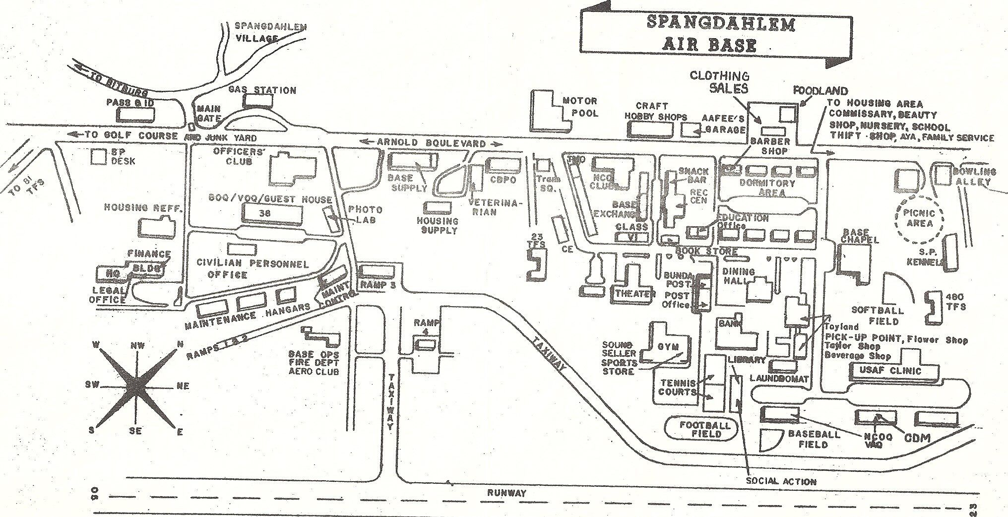 A Drawn Map Of Part Of Spang Afb