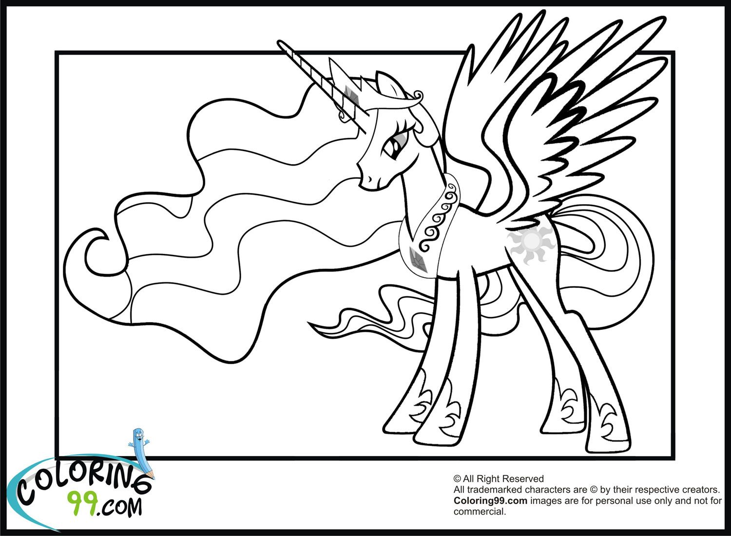 Princess My Little Pony Coloring Page Free Printable My Little