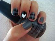 grey black striped white heart