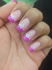pink french tip nails with design