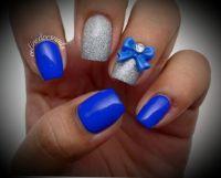 Royal blue and glitter silver nail art | Beautiful short ...