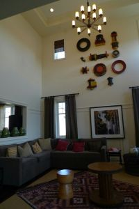 high ceiling with unique wall decor | Decor * Living Room ...