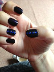 nail art; midnight blue with gems