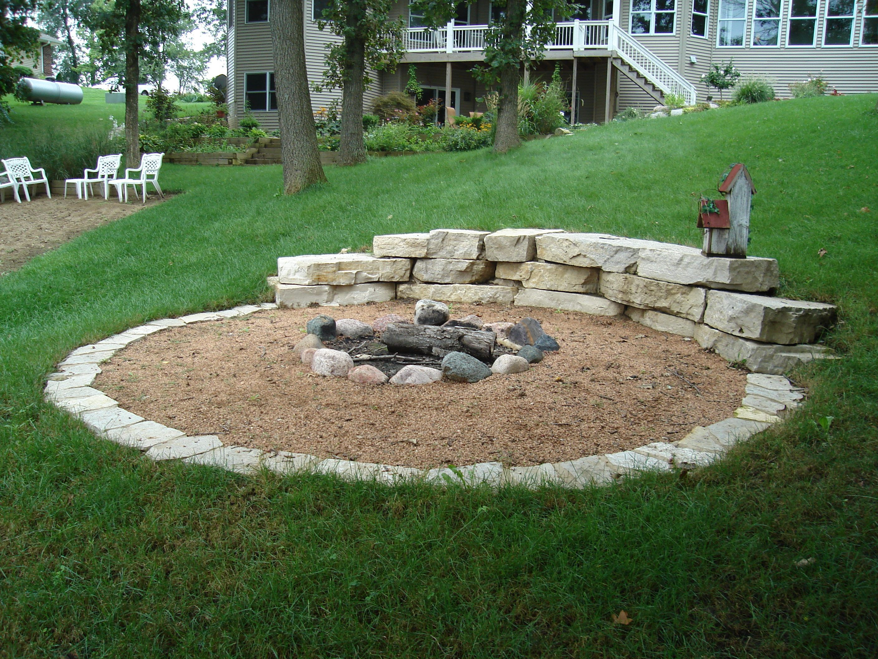 Hillside fire pit  The Yard  Pinterest