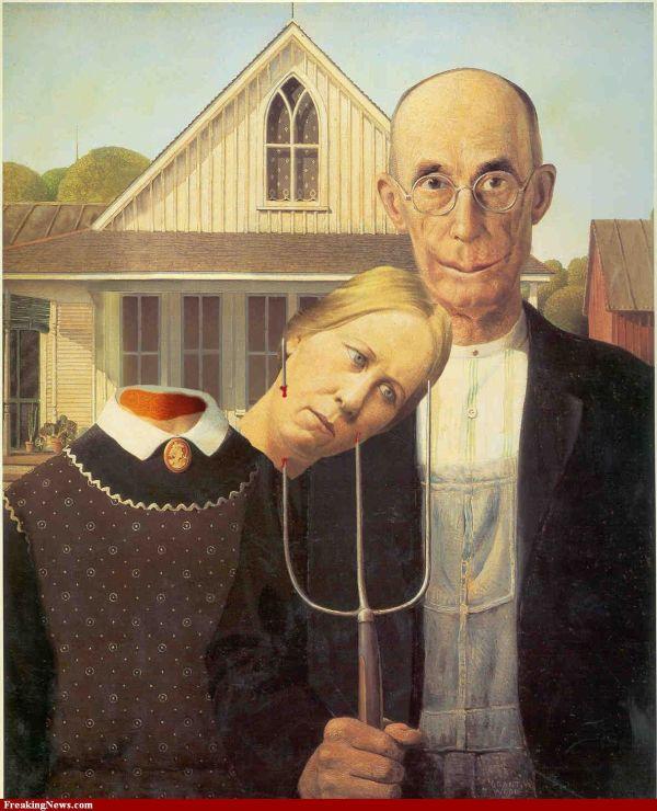 American Gothic Painting Parody
