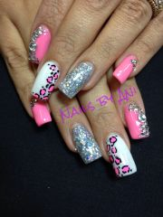 leopard pink acrylic nail design