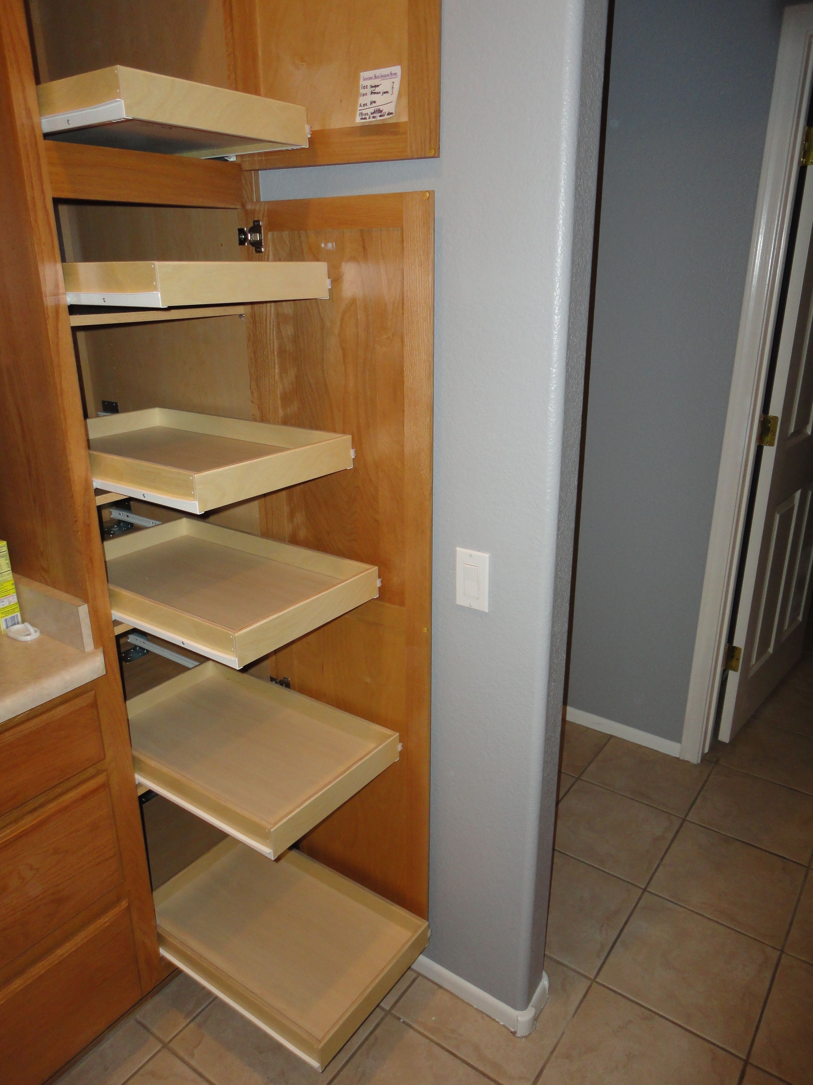 pull out shelves for kitchen white wood table slide pantry thoughts pinterest