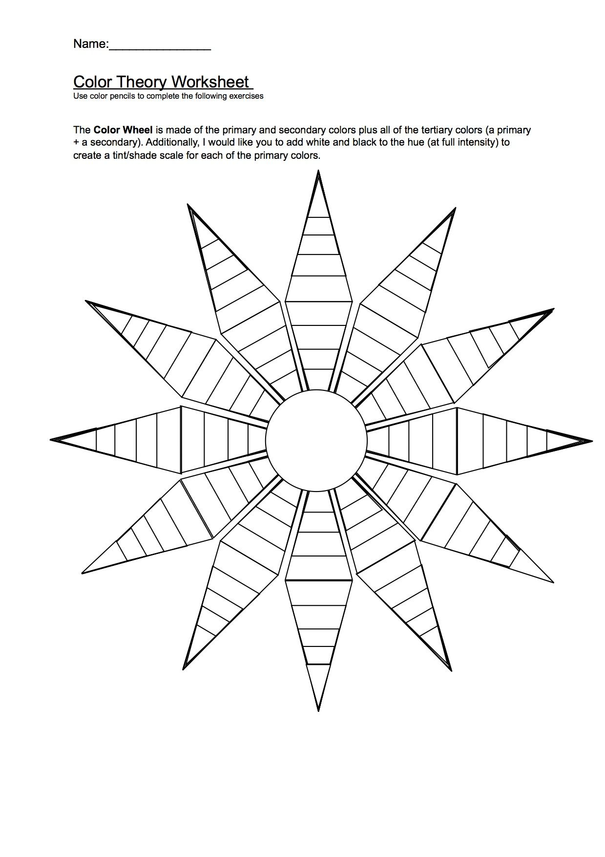 Color Wheel Worksheet Worksheets And Color Wheels On