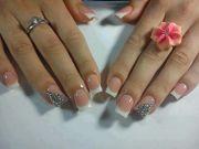 pretty rhinestone french tip nails