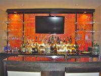 Bar, glass shelving