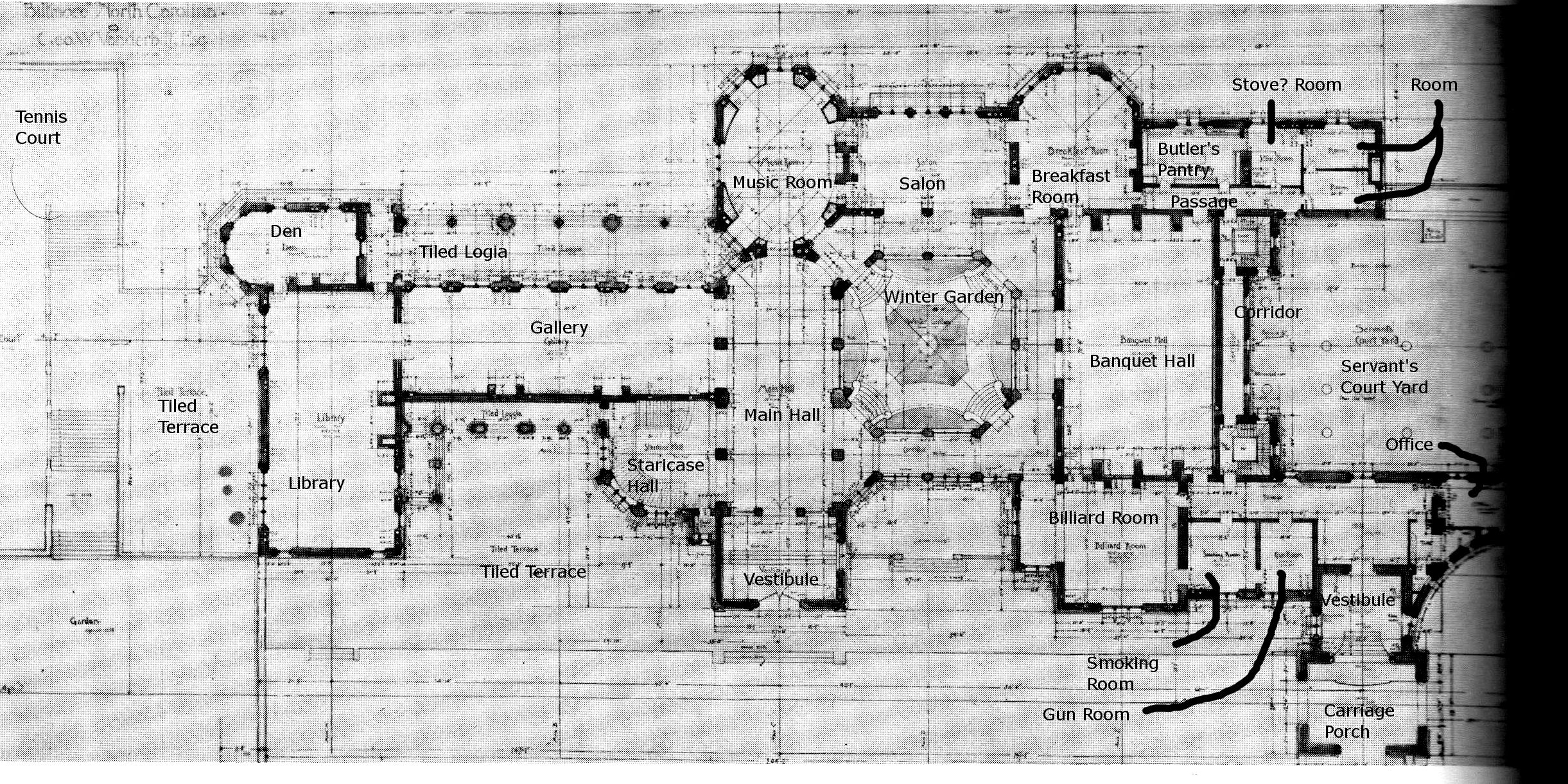 Biltmore Ground floor plan with details  The Gilded Age