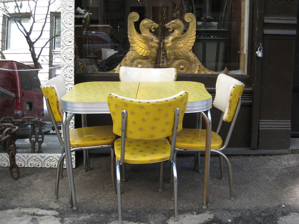 1950 s yellow formica table and chairs folding chair orange starburst retro vintage tables