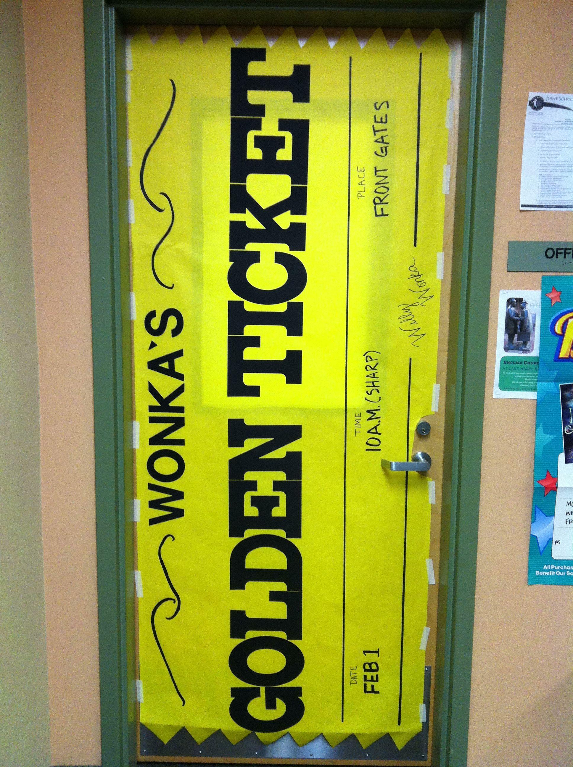 Wonka's Golden Ticket Door decoration