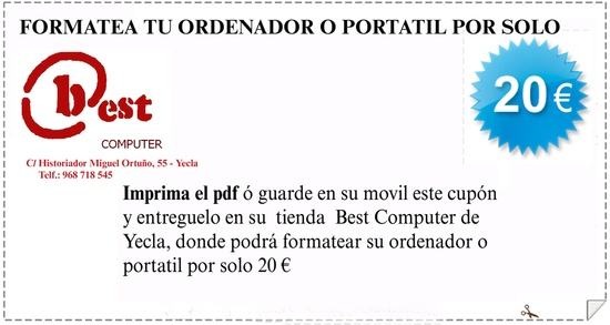 Best computer en yecla cupon promoción formatear orderndor sobremesa o portatil por 20 euros