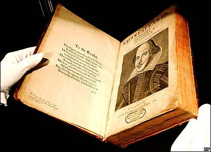 1623 edition 1st Folio of Shakespeare's works