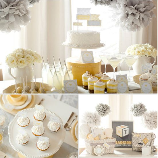 a sunshine grey, yellow and white baby shower!