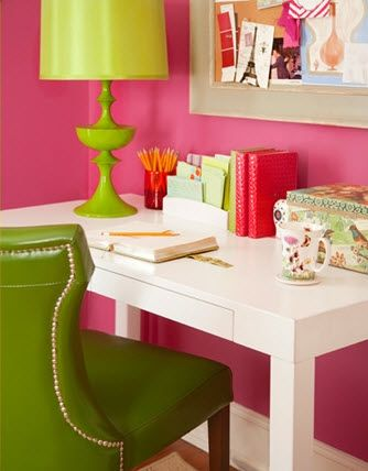 Crisp, white table with loads of bright colors makes for an on-point created Sassy styled office.    Find out what type of home decor style you have by taking our Stylescope quiz. Click here!