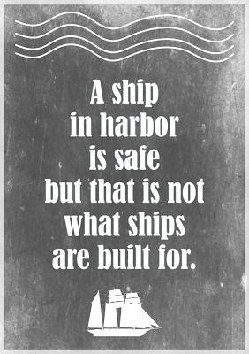 Free printable motivational quote about stress: a ship in harbor... – ausdruckbarer Spruch – freebie | MeinLilaPark – digital freebies