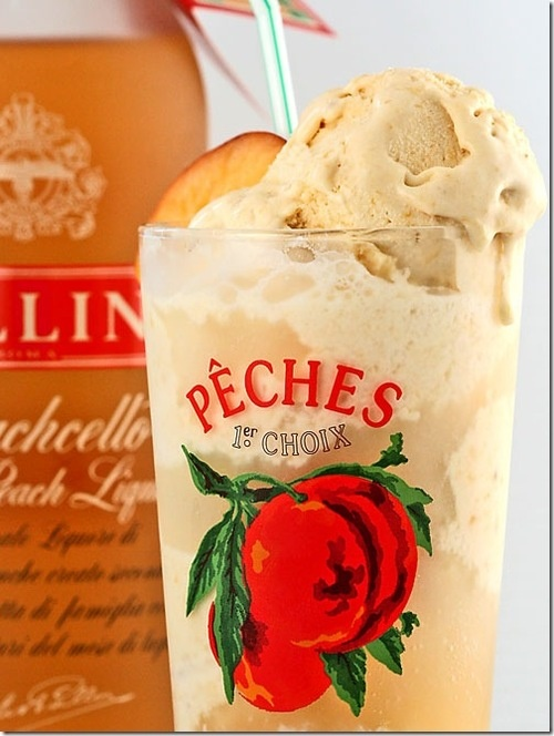 Peach Ice Cream, champagne and peach liqueur for a grown-up ice cream float!