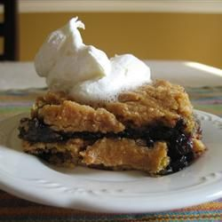 Blueberry Dump Cake --this is a good basic recipe.  Pile on the blueberries, 1/4 c. sugar, pour on lemon juice.  Use lemon cake mix, 1 1/2 sticks butter melted, and add some oatmeal.  Bake for 45-50 minutes.  Yummy!