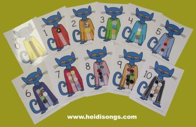 Pete the Cat button counting printable from Heidisongs #preschool #kindergarten