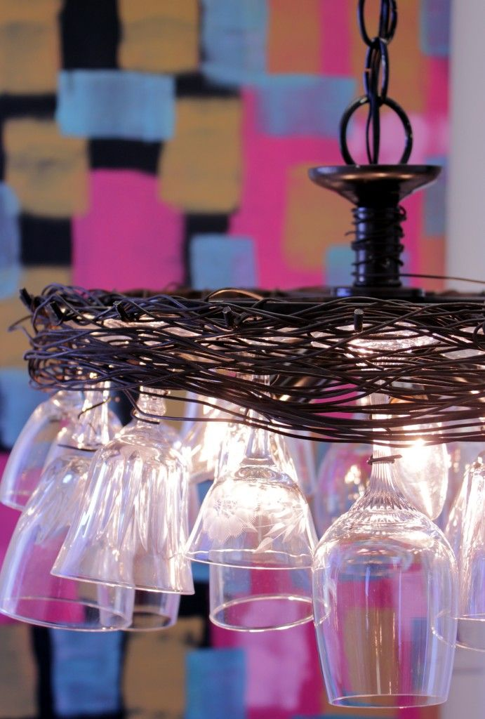 From wine glasses to glass chandelier