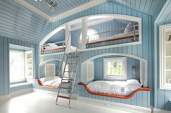 Wow, I love this room. This would be so magical fun for a guest room at a Beach house right on the ocean!