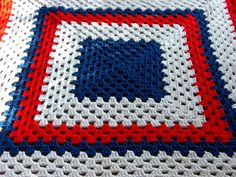 Red White and Blue Crochet Afghan with Tassels by aniemandesign, $50.00