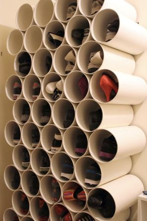 PVC pipe shoe storage  Since I wrote the column, which talks about making shoe storage from PVC pipes, and fixing them to a wall, I've found an even easier way to do this – using cardboard tubing and a roof-rack strap. No nails, it's barely even DIY. Brilliant. Read full details over at Apartment Therapy.