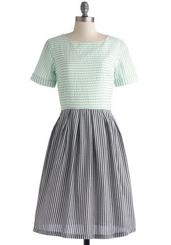 Train Station Platform Dress in Two-Tone - Cotton, Long, Black, White, Stripes, Casual, A-line, Short Sleeves, Better, Mint, Exclusives