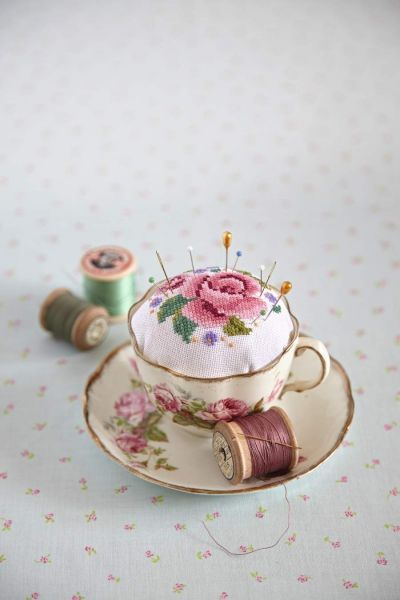 Tea cup turned pin cushion