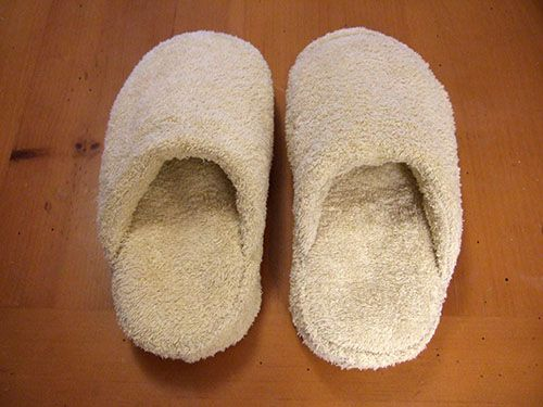 old towel = bath slippers