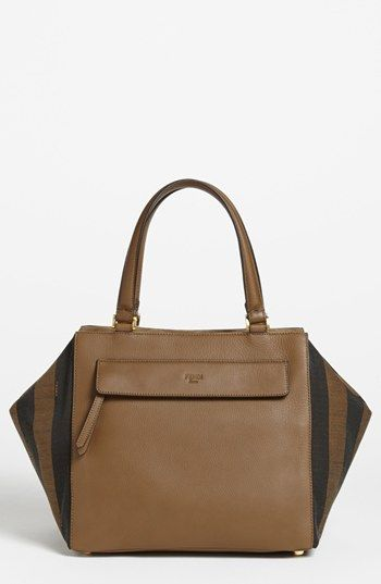 Fendi 'Pequin' Mixed Media Satchel available at #Nordstrom