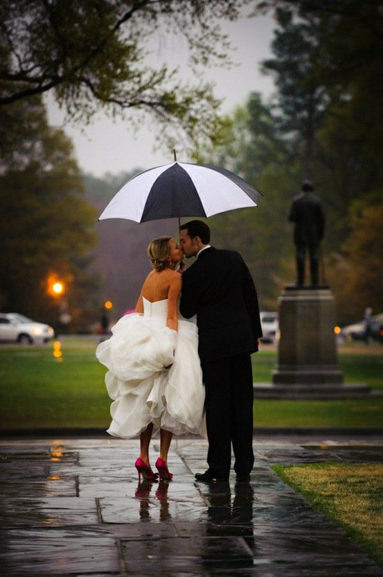 Cute Rainy Day Wedding