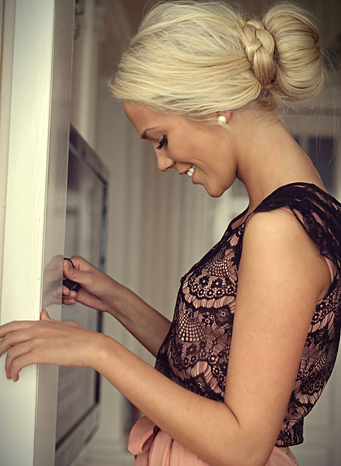 low bun #hair #bun #elegant #chignon #lookalike #dressy #lace