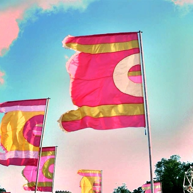 Camp bestival a family friendly festival. Flags.