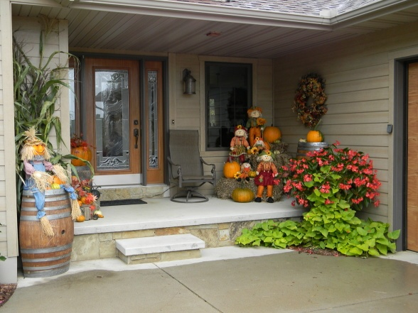 Front porch, Front porch fall decor with scarecrows, wreath,pumpkins and gourds, Front porch, Holidays Design