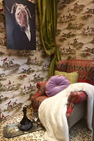 Bloke's hunting scene room-set (but the wife got involved and made him have silk curtains)