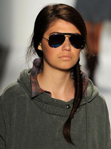 yeah, this is basically me, throw a side braid in, a sweatshirt on, some shades and call it good.