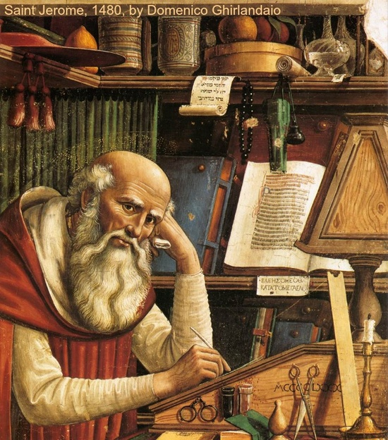 Fresco of SAINT JEROME (347-420 AD) in his Study (detail), 1480, in the Church of Ognissanti, Florence by  Domenico GHIRLANDAIO (Artist. Italy, 1449-1494).  To see complete image:  http://1.bp.blogspot.com/-pS-xA39fNTI/ToUonqvLj1I/AAAAAAAAA6I/-4kWz_uQhLI/s1600/S%25C3%25A3o+Jer%25C3%25B4nimo.jpg   More on the artist: http://en.wikipedia.org/wiki/Domenico_Ghirlandaio More on St. Jerome: http://en.wikipedia.org/wiki/Jerome Patron Saint of:  Archivists, Librarians, Students, Translators +
