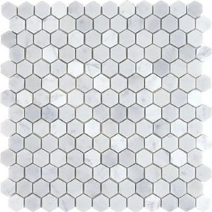 carrera marble hexagon tile for the floors...Hmm. Keep repinning stuff and realizing maybe I just want Aubrey & Lindsay's bathroom.