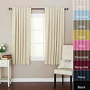 "Solid Thermal Insulated Back Tap Blackout Curtain 52""W x 63""L, 1 Set, Beige"