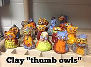 "Mrs. Knight's Smartest Artists: Clay ""thumb owl"" sculptures, 2nd grade"