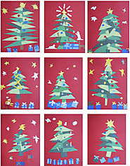 Famous Artists Inspired Christmas Ornaments and Greeting Card Ideas | The Rolling Artroom: Matisse Christmas Trees 4th-6th Grade