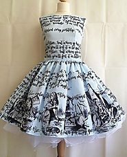 Alice In Wonderland Dress, Literature dress, Book Dress, Writing Dress, Alice Dress, Uk, BLUE OR CREAM avialble, Roob...